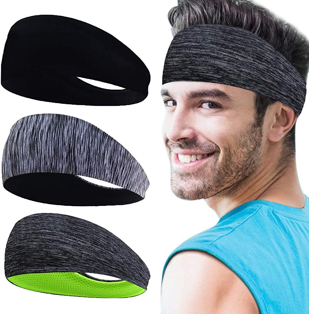 Non Slip Sport Headbands for Women Men Sweatband Stretchy Soft Quick Dry Lightweight Workout Exercise Band