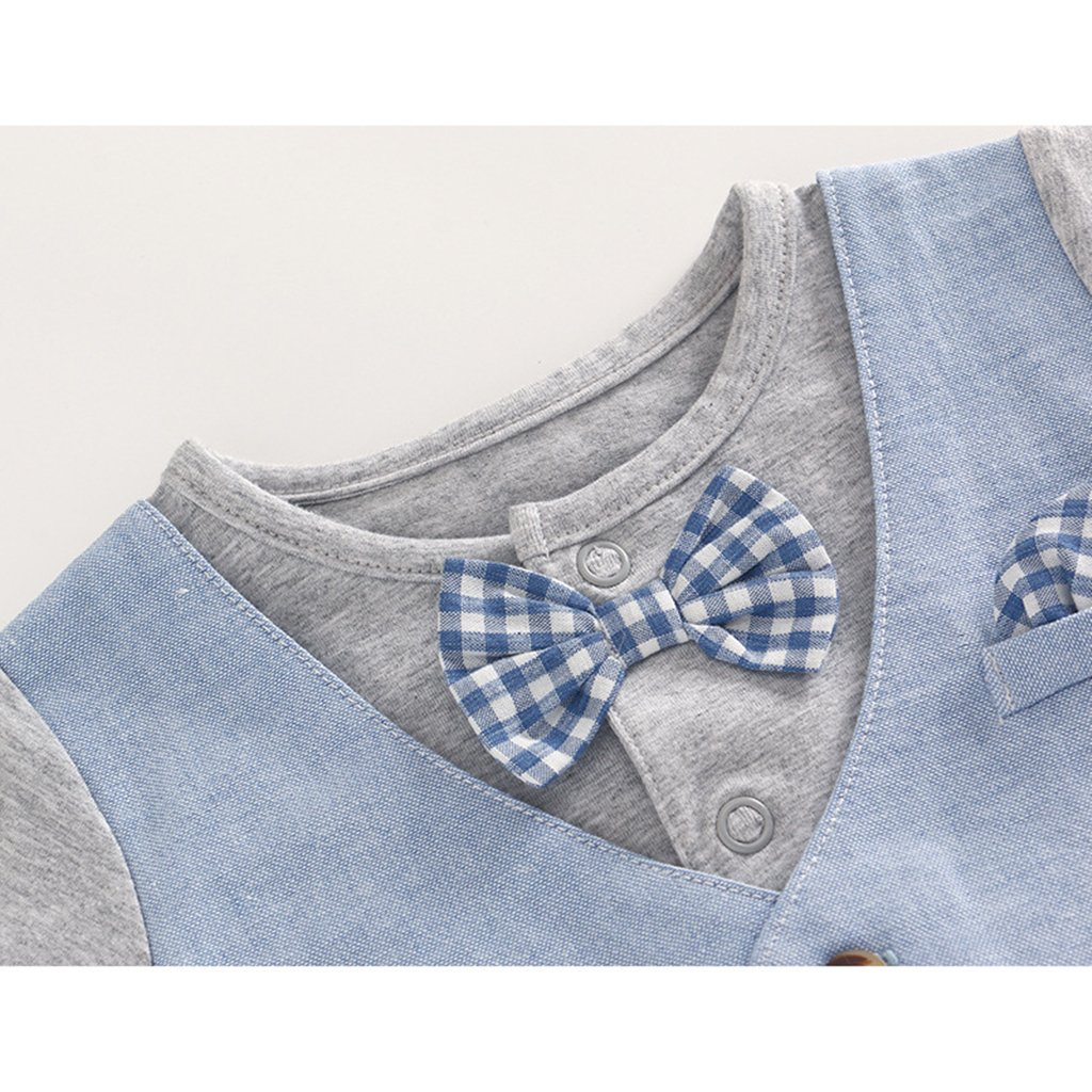Amazon.com: JiAmy Baby Boy Gentleman Romper Summer Short Sleeve Bowtie Jumpsuit 18-24 Months: Clothing