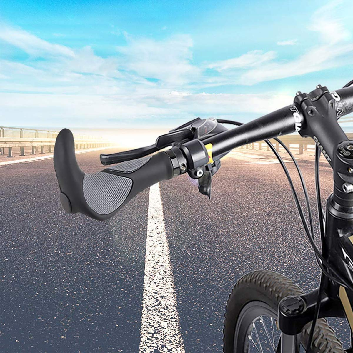 Handlebar Grips Bicycle Grips Bike Rubber Grips Screw Handles Alu MTB Bike