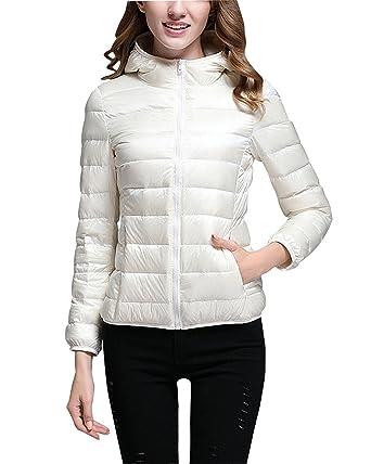 Femme Doudoune à Capuche 90% Duvet de Canard Blanc Légère d'hiver Ski Compressible Down Veste Blouson Outdoor Sport Manteau Courte