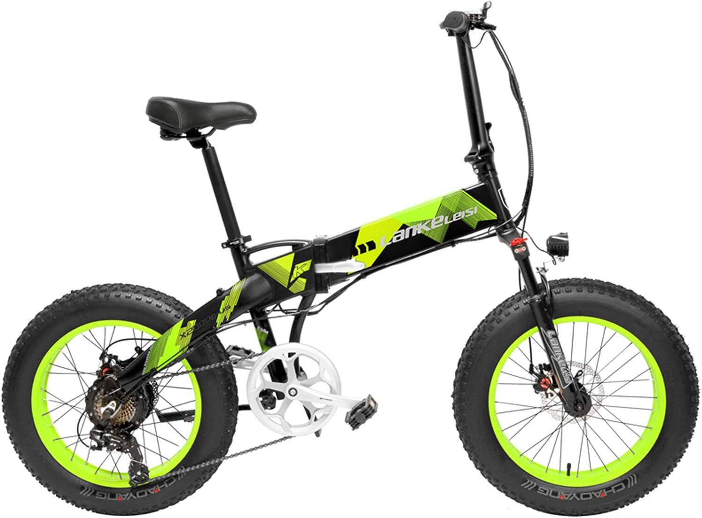 LANKELEISI X2000 20 Pulgadas Bicicleta Grasa Plegable Bicicleta Eléctrica 7 Velocidad Bicicleta de Nieve 48V 12.8Ah 500W Motor 5 Pas Bicicleta de Montaña (Negro Verde, 10.4Ah): Amazon.es: Deportes y aire libre
