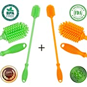 Bottle Brush Cleaner - Antibacterial Silicone Bottle Cleaning Brush Set Long Handle for Washing Water Bottle (Orange, Green)