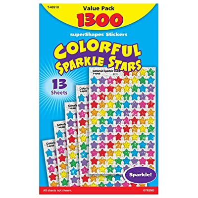 Trend Enterprises Sparkle Stars Stickers - 1/4 to 1/2 inches - Set of 1,300 - Red, Blue, Gold, Silver: Industrial & Scientific