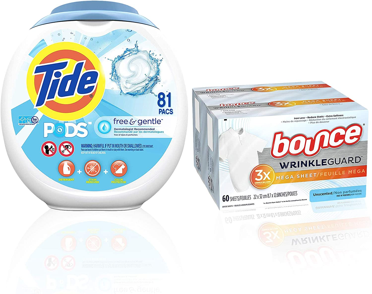 Tide Free and Gentle Laundry Detergent Pods, 81 Count with Bounce WrinkleGuard Mega Dryer Sheets, Fabric Softener and Wrinkle Releaser Sheets