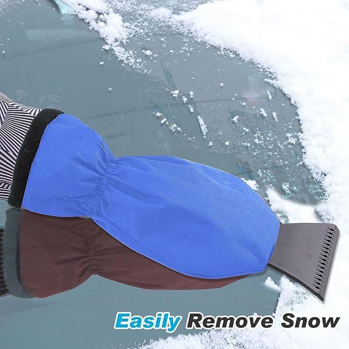 solawill Raspador de Hielo para el autom/óvil con Guantes Pala para Nieve Herramienta para Quitar la Nieve del autom/óvil para Parabrisas