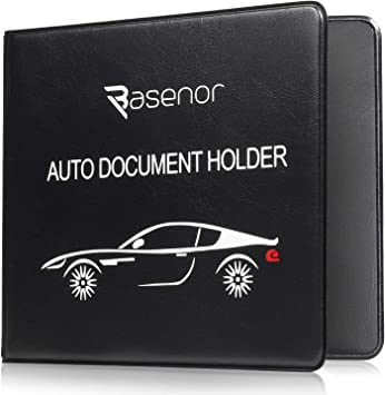 BEIGE Auto Insurance and Registration Card Holder BLACK Car Glove Box Compartment Organizer BUNDLE PACK