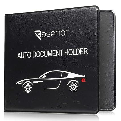 BASENOR Registration Insurance Card Holder Slim Leather Car Document Holder for Auto Insurance Registration Driver License with Magnetic Closure Black