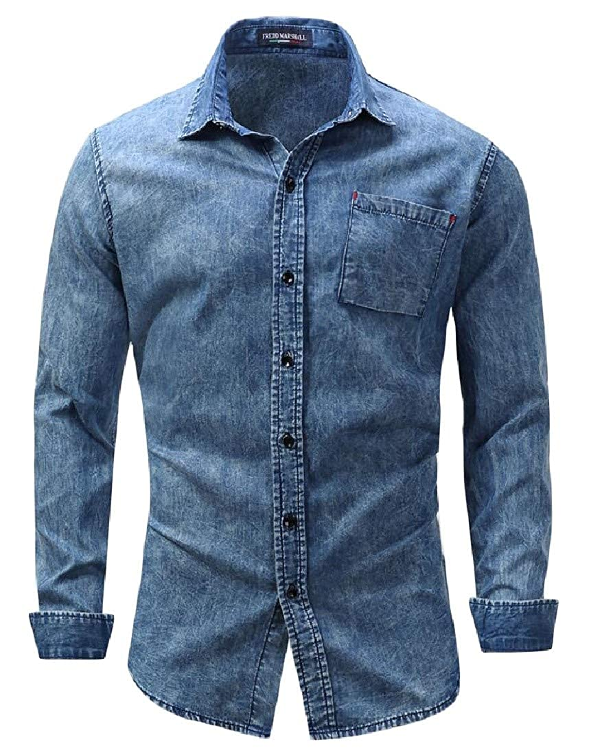 Sweatwater Mens Curved Hem Washed Denim Long Sleeve Loose Lapel Neck Pocket Button Down Shirts