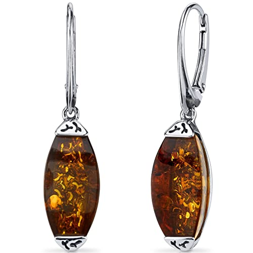 Baltic Amber Gallery Earrings Sterling Silver Cognac Color