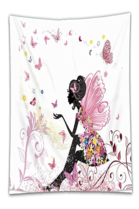 Amazon beshowereb fleece throw blanket trendy pink flower fairy beshowereb fleece throw blanket trendy pink flower fairy girl with butterfly ndash light weight polyester mightylinksfo