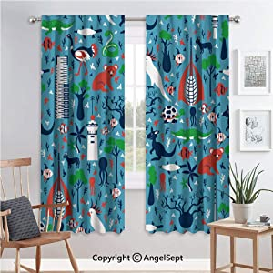 60x96 Inch Decorative Curtains Room Darkening Thermal Insulated Curtains,Rod Pocket,Seamless Vector Cartoon Pattern,Australia Landmark Telstra Tower,Perth Bell Tower,Old Windmill Brisbane,Eureka Skysc