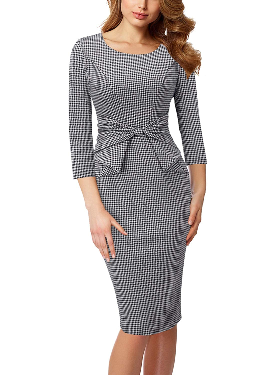 Black White Houndstooth 3 4 Sleeve VFSHOW Womens Pleated Bow Wear to Work Business Office Church Sheath Dress
