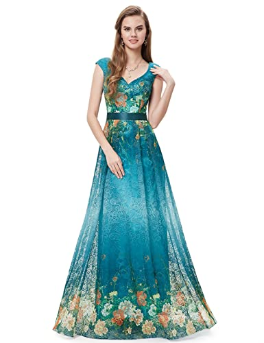 Ever Pretty Floor Length Floral Printed Lace Evening Gown 08386