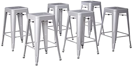 Amazoncom Belleze 26 Inch Metal Counter Stools Stackable Silver