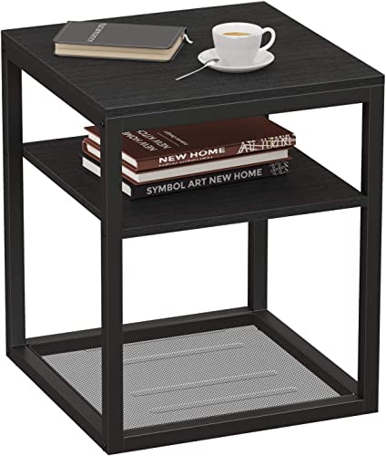 WINHOME Black Nightstand