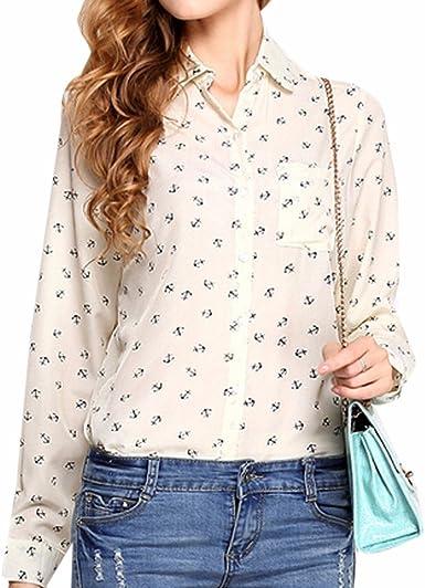 QIYUN.Z Mujeres OL De Manga Larga Moda Collar De La Solapa De La Camisa Impresa Camisetas Tops