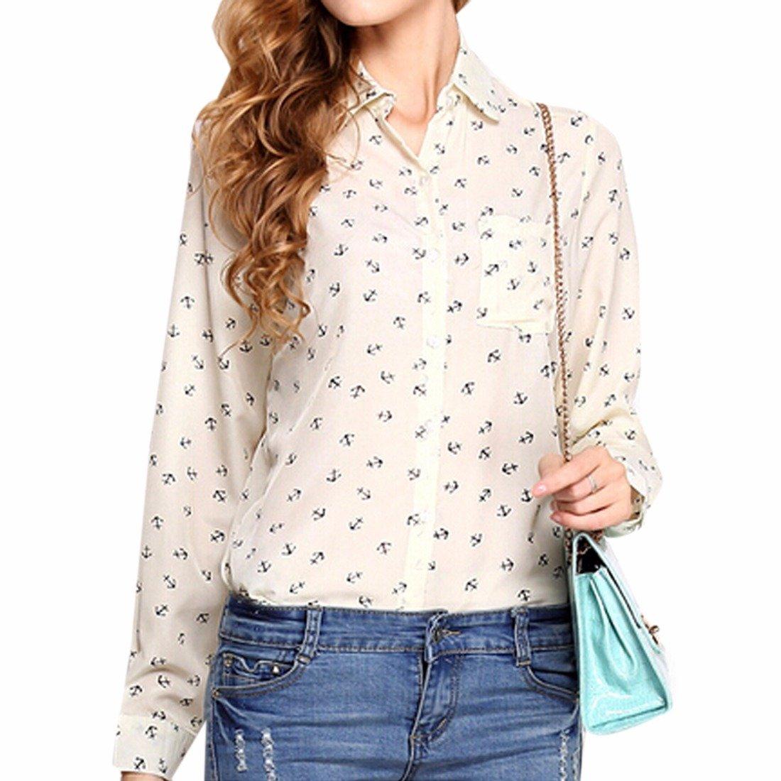Z Mujeres OL De Manga Larga Moda Collar De La Solapa De La Camisa Impresa Camisetas Tops: Amazon.es: Ropa y accesorios