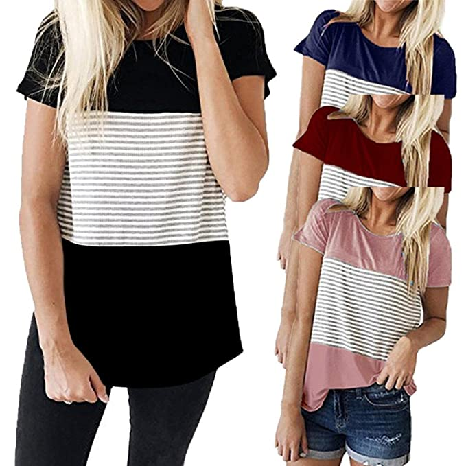 Longra Camiseta de mujer de manga corta con tres rayas en color Block Blusa Casual Blusas