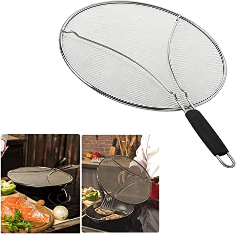 Splatter Guard Cover Screen w// Handle For Frying Pan Griddle Cooking UK Stock