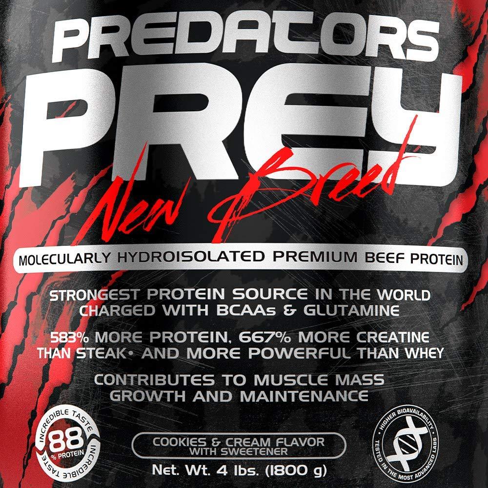 Predators Prey Pure Beef Protein Powder 1800 g: Sabor a galletas y crema – Suplemento de carne hidroaislado molecularmente de primera calidad con 36 g ...