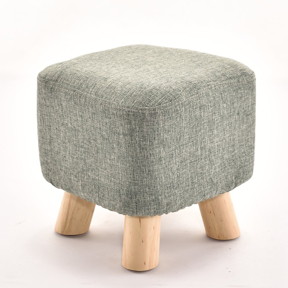 D&L Solid wood Square Seat Stool,Ottoman Pouffe Footstool Fabric Cover 4 legs And Removable Linen Cover-Dark gray L28xW28xH28.5cm