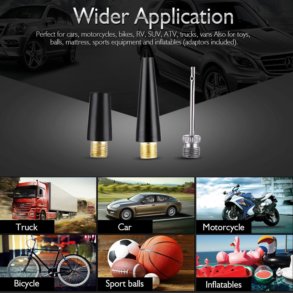 RV Auto 12V Tire Inflator for Car Truck Bicycle and Other Inflatables Heavy Duty Portable Air Pump Audew Dual Cylinder Air Compressor Pump