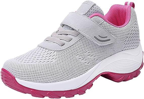 Luckycat Mujer Zapatillas de Deporte Cuña Zapatos para Correr Plataforma Sneakers con Cordones Calzado de Malla Air Tacón 5cm Zapatillas Mujer Zapatos de Malla de Deporte Respirable Zapatos Cordones: Amazon.es: Zapatos y