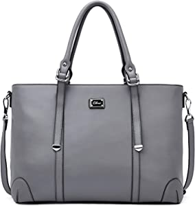 Laptop Totes for Women Genuine Leather Briefcase 15.6 Inch Large Ladies Work Handbags Shoulder Bag Gray
