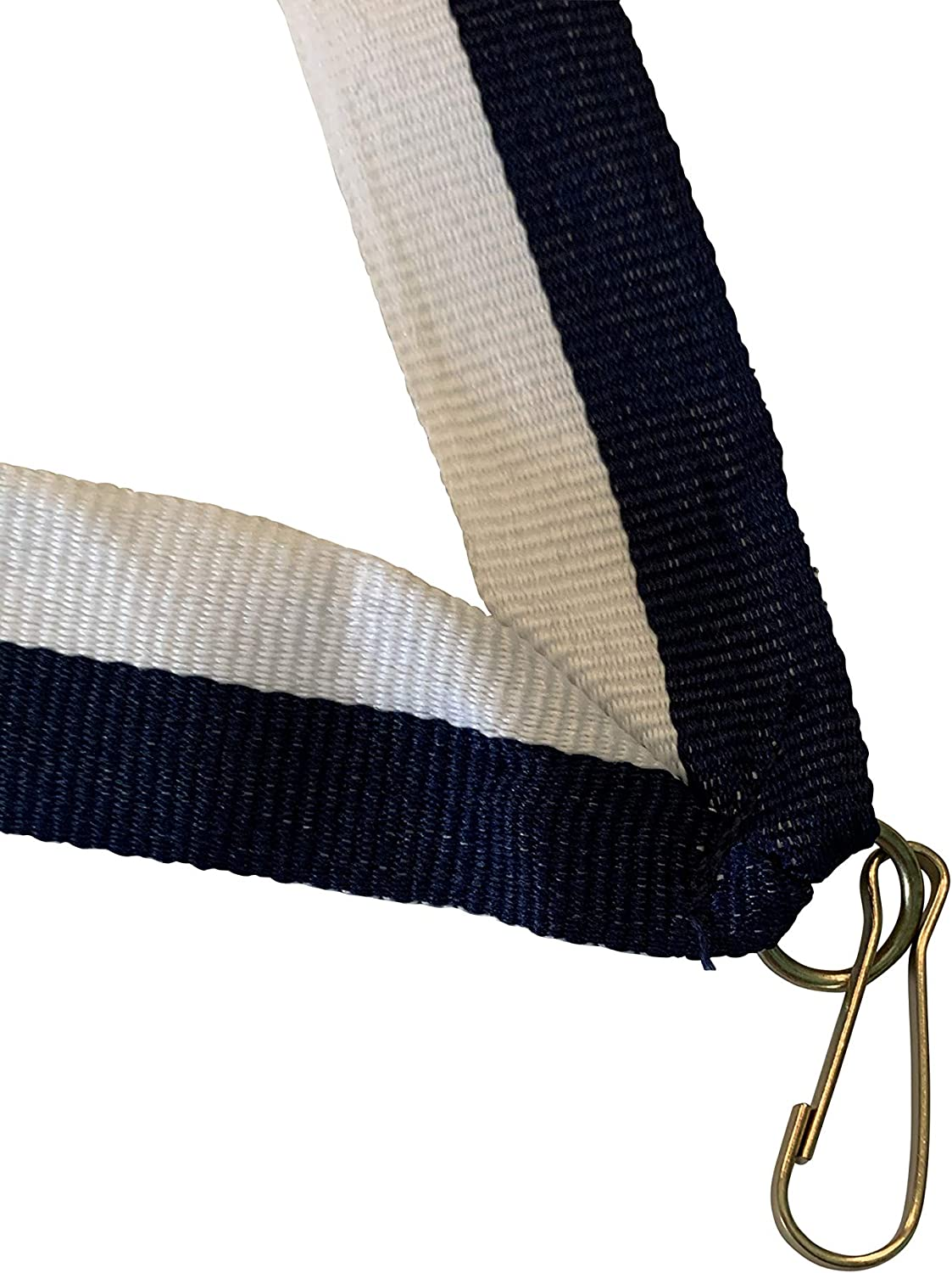 Navy Blue and White Neck Ribbons for Medals with Snap Clips Flat Lanyard Award Pack of 10