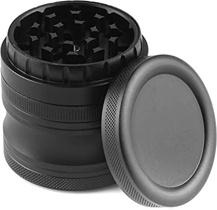 Herb Grinder Large Square Grinders 4 Piece Magnet Connected 4 Chambers Black Aluminum Alloy Grinders for Herb with 4 Clear Windows Pollen Catcher and Filter Screen 2.24inch x 2.4inch