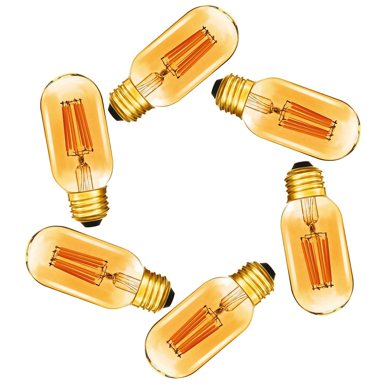 Dimmable 6W Tubular LED Bulb,T45 Edison Style LED Filament Bulbs,E26 Amber Glass 420LM, 60 Watt Bulb Equivalent, Soft Warm 2200K,6 Pack