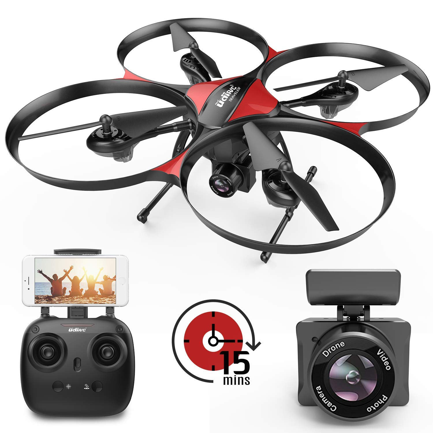 DROCON Drone with Camera and 720P 120°FOV FPV Real-time Video, Quadcopter Designed for Beginners with a 15-min Flight Time, Altitude Hold, Headless Mode, 4GB TF Card Included by DROCON