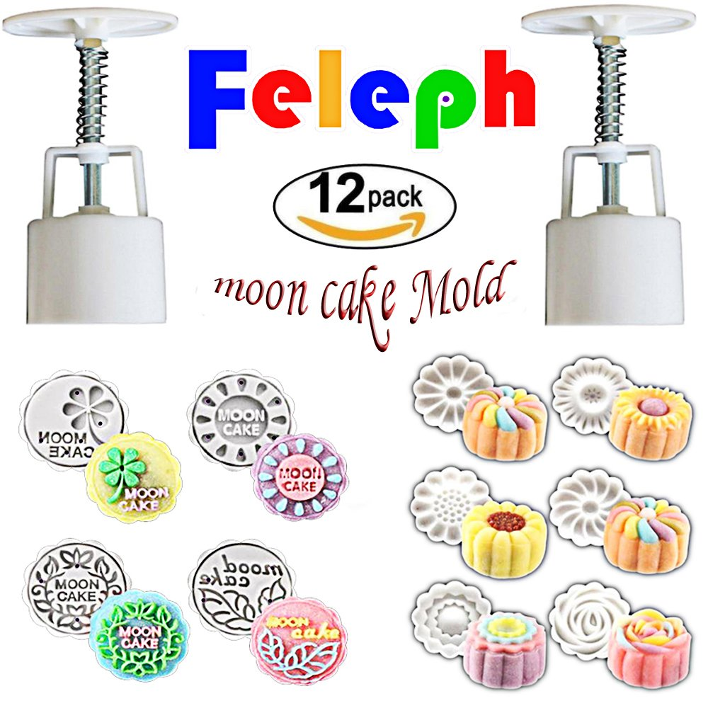 Flower Mooncake Mold,Feleph Hand-Pressure DIY Cookie Mold 2 DIY Tool Round with 10 Type Decorate Stamps for Moon Cake,Biscuits,Refreshments (white)