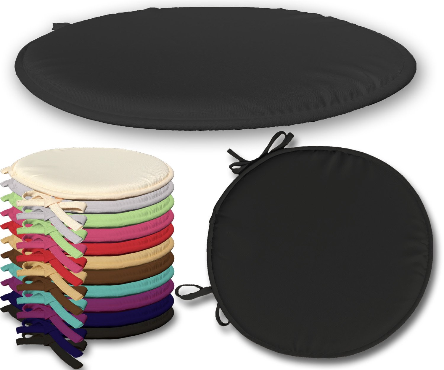 Textile.Plus ® 2 X Chair Padded Seat Pads Cushion With Ties 38 x 38 x 2Cm (Chocolate)