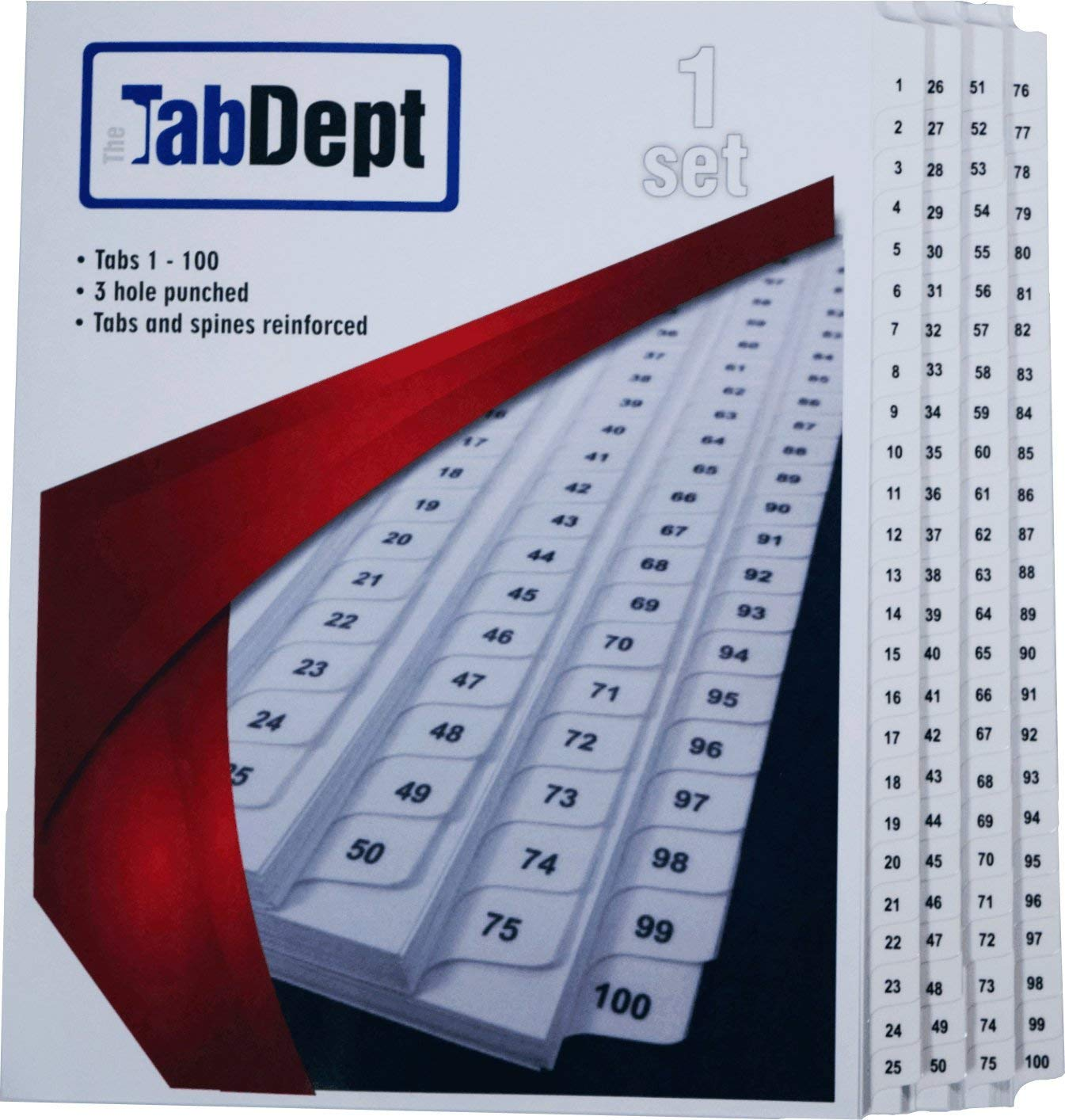 Index Tab Dividers (1 to 100) + Table of Contents (Letter Size) by The Tab Department