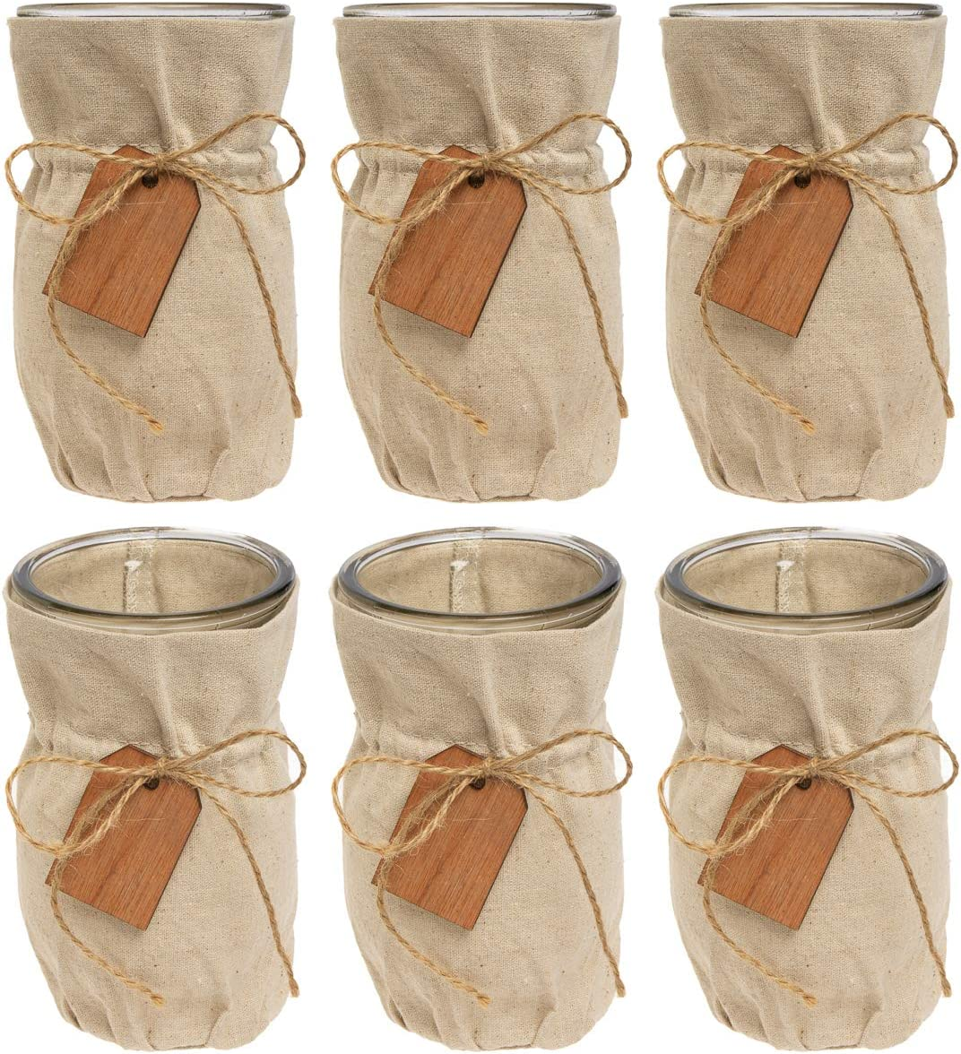 Syndicate Sales 6 Pack 7 Glass Vase Set with Linen Jacket Vintage Home Decor Centerpiece for Flowers