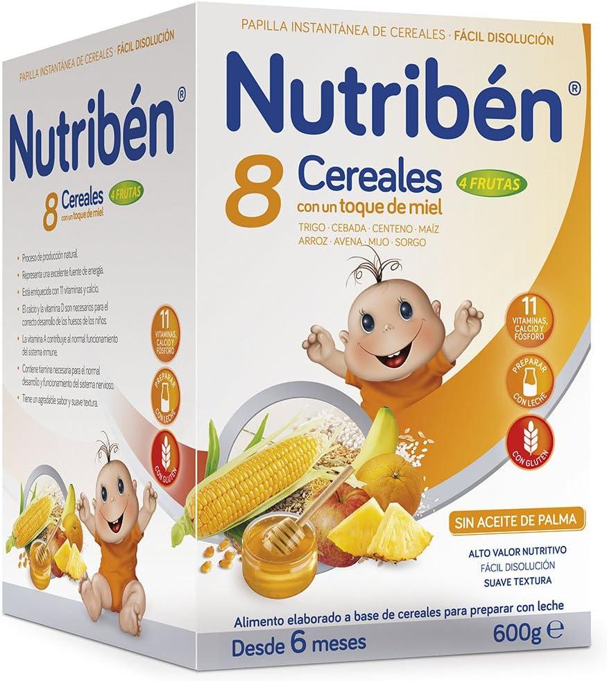 Nutribén Papilla 8 Cereales y Miel 4 Frutas - 600 gr