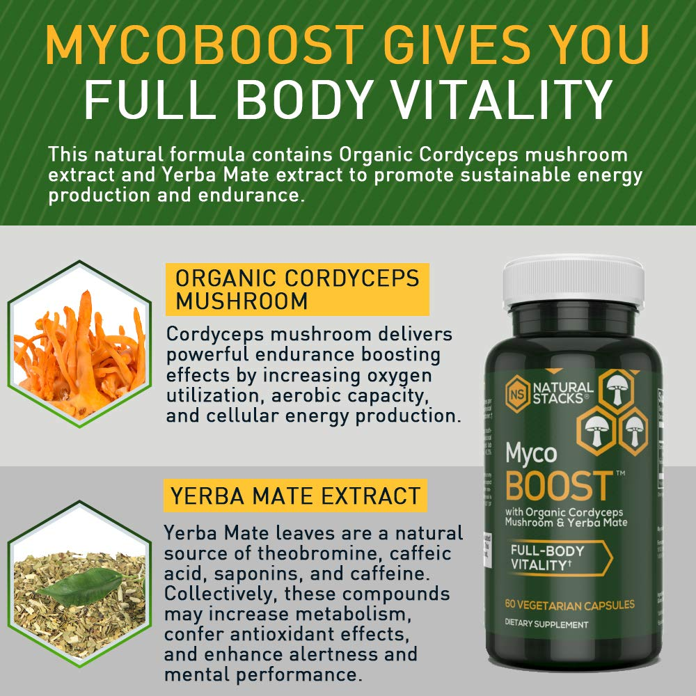 Natural Stacks: MycoBOOST - 30 Day Supply - Energy Boost -Increases Stamina  - Organic Cordyceps