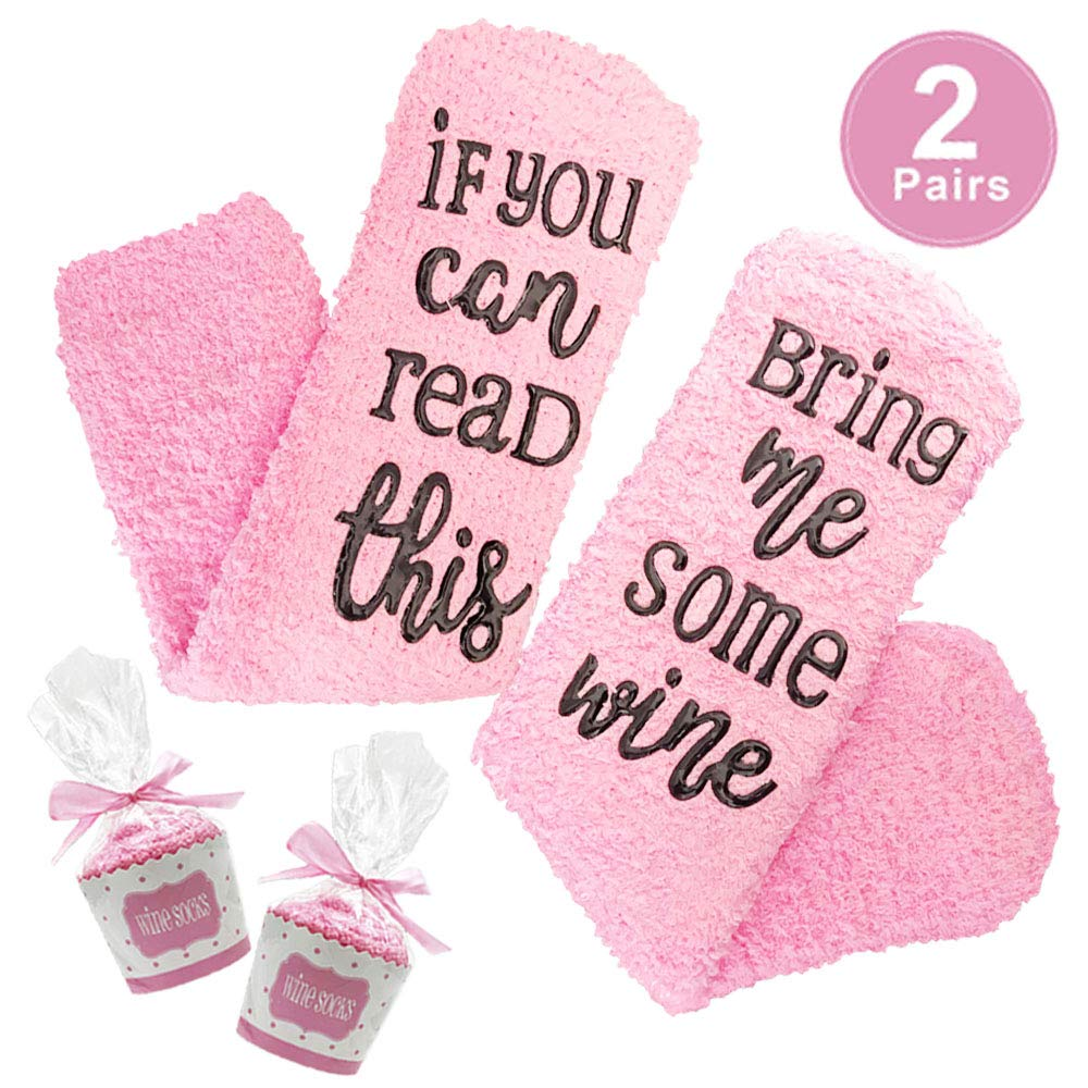 'If you can read this bring me some wine' funny novelty wine socks, wine accessories for wine lover and gifts for Lovers Couples Parents or Her Like Women Wife Girlfriend and He like Men Boyfriend H