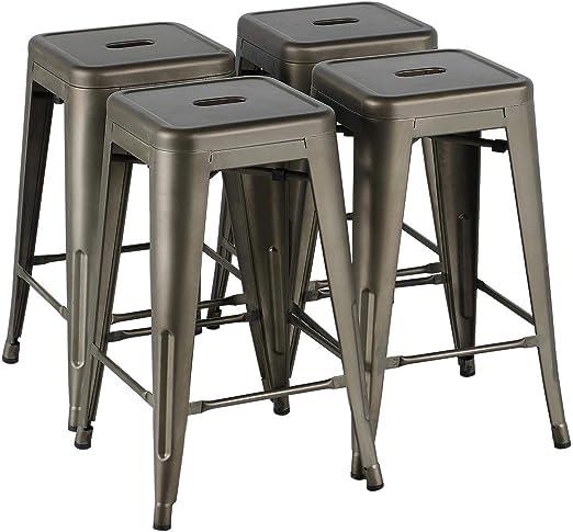 Yaheetech Set de 4 Piezas Taburetes de Bar Taburetes Industriales ...
