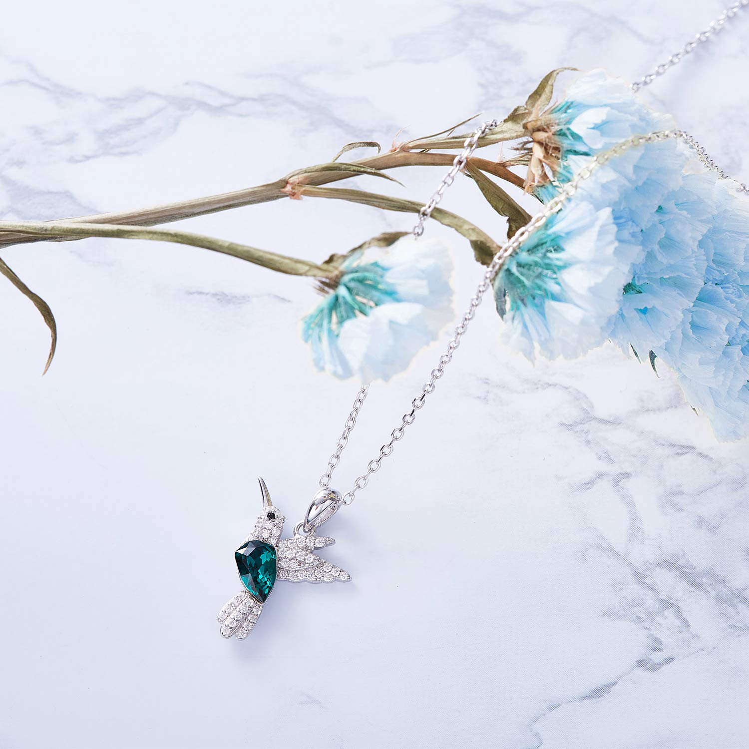 CDE S925 Sterling Silver Necklace Woman Swarovski Crystals Pendant Necklaces Hummingbird Fine Jewelry Gift for Her by CDE (Image #7)