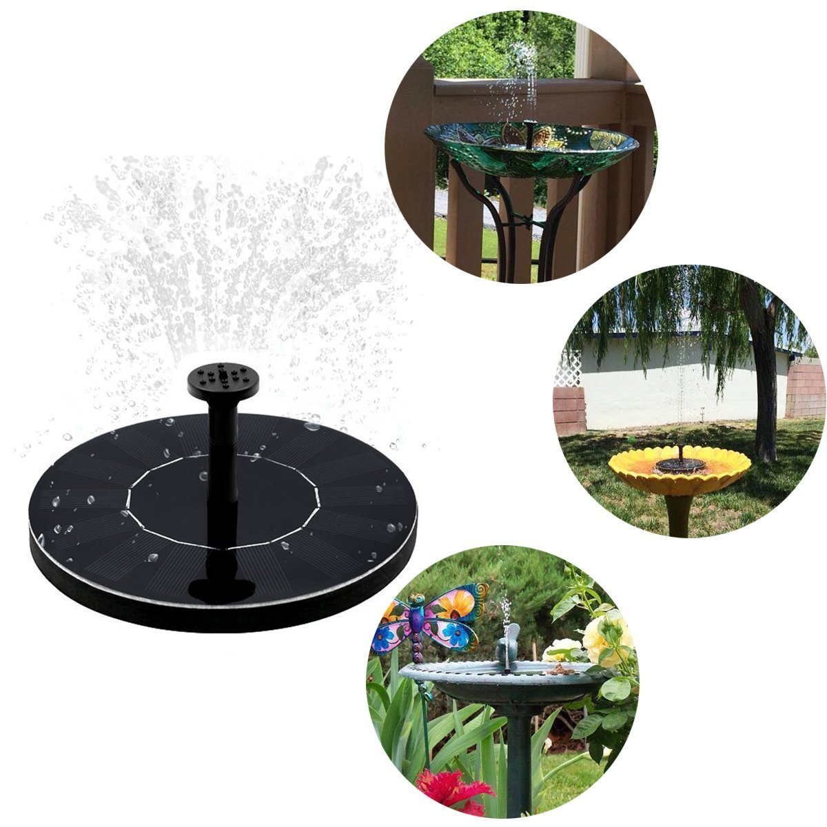 GOGOOUT Solar Fountain, Solar Powered Bird bath Fountains Pump Freestanding Submersible with 1.4W Solar Panel Kit, for Small Pond, Fish Tank, Garden Decoration by GOGOOUT (Image #6)
