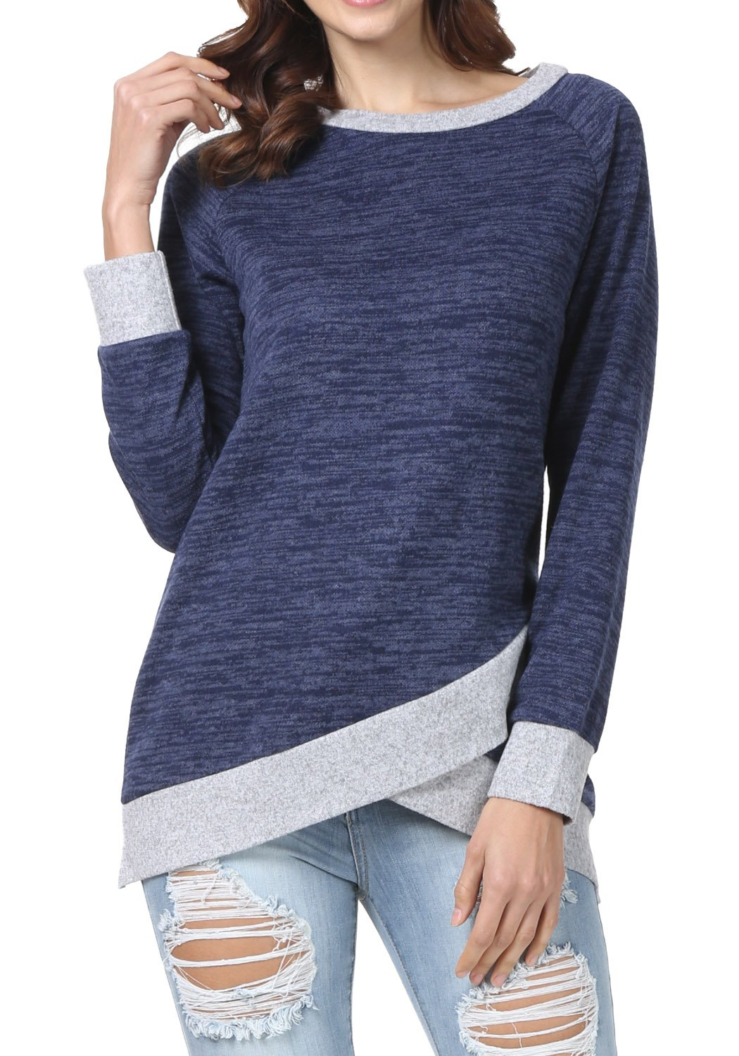 levaca Womens Long Sleeve O Neck Cross Loose Fit Casual Blouse Tunic Tops Blue M by levaca (Image #1)