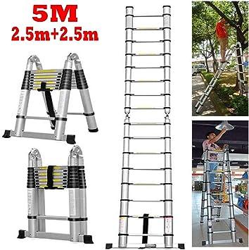 Escalera telescópica de aluminio de 16.4 pies, escalera telescópica extensible, escalera plegable extensible, capacidad máxima de 330 libras para uso doméstico industrial diario o de emergencia: Amazon.es: Bricolaje y herramientas