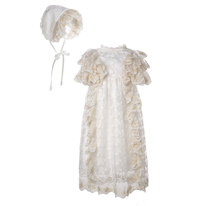 Hanakimi Christening and Beptism Baby Dresses Bonnets Handmade XLF16002 (Custom Size, Bonnet+Gown)