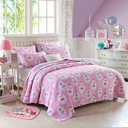 Cozy Line Fairy Princess Ballerina Pink Quilt Girls Twin Bedding Sets For  Kids