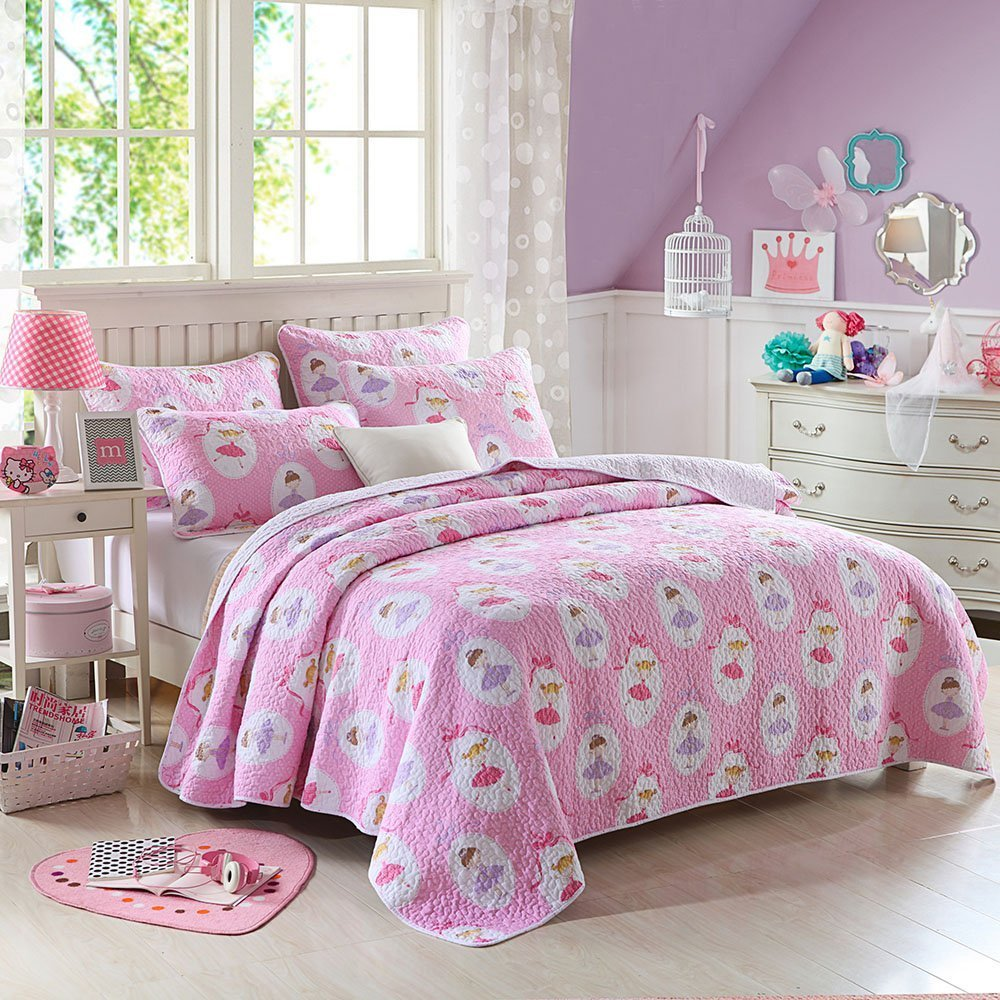 Cozy Line Fairy Princess Ballerina Pink Quilt Bedding Sets for Girls/Kids, Full/Queen