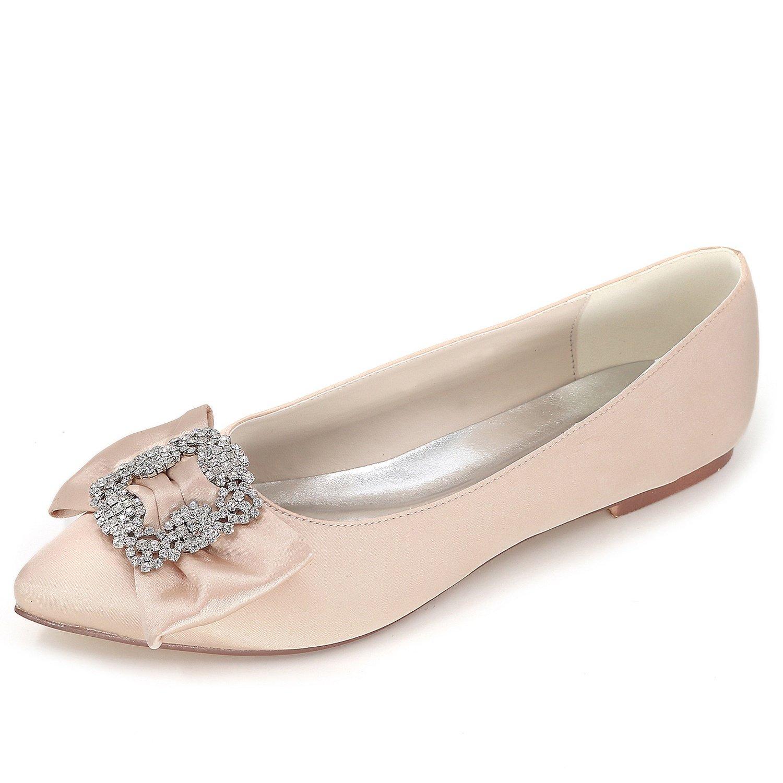 Elobaby Zapatos De Boda De Las Mujeres Rhinestones SeñOra Plataforma SatéN Plana Moda/0.6cm TalóN/Vestido/35-42 41 EU|Champagne