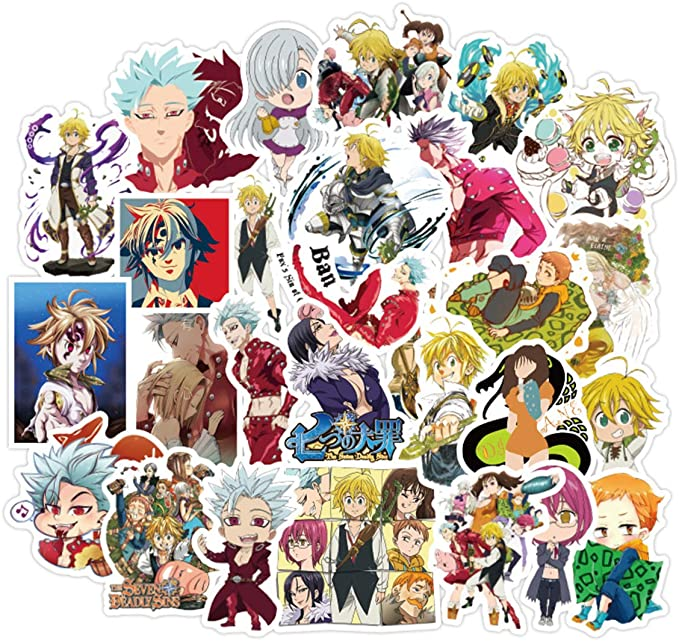 Black Clover Sticker Pack of 50 Stickers Waterproof Durable Stickers Classic Japanese Anime Stickers for Kids Teens Waterproof Stickers
