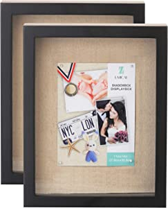 UMICAL 2 Pack - 11x14 Shadow Box Display Case - Deep Shadowbox Picture Frame with Linen Board - 3D Showcase Keepsake Art Graduation Baby Wedding - Wall Hanging & Free Standing